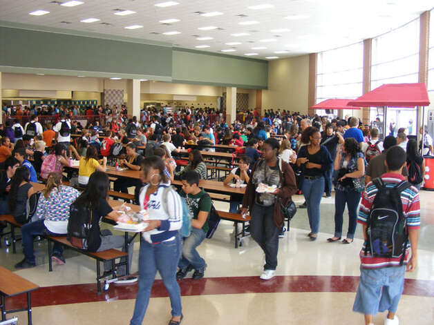 students pack into the new judson high school cafeteria four weeks after the new school
