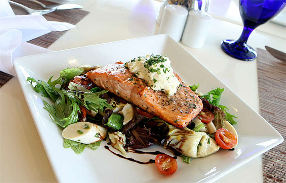 Wild Salmon and Warm Goat Cheese Salad from Mariposa at Neiman Marcus gives shoppers a boost of energy.
