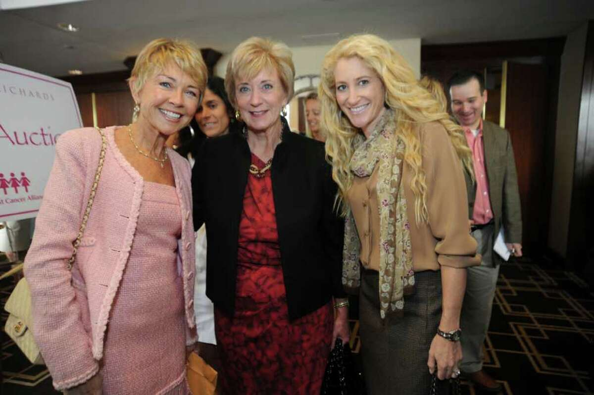 Dee Mayberry, of Greenwich, Linda McMahon, Republican candidate for U.S. senator, and Betsy Korn, of Greenwich, at the Breast Cancer Alliance's benefit luncheon at the Hyatt Regency Greenwich, on Thursday, Oct. 28, 2010.