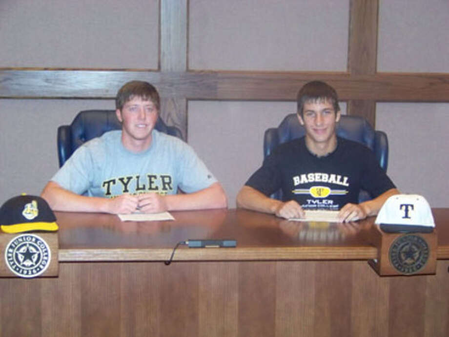 Parker Phillips and Tyler Ernest sign letters of intent to play baseball at Tyler Junior College.