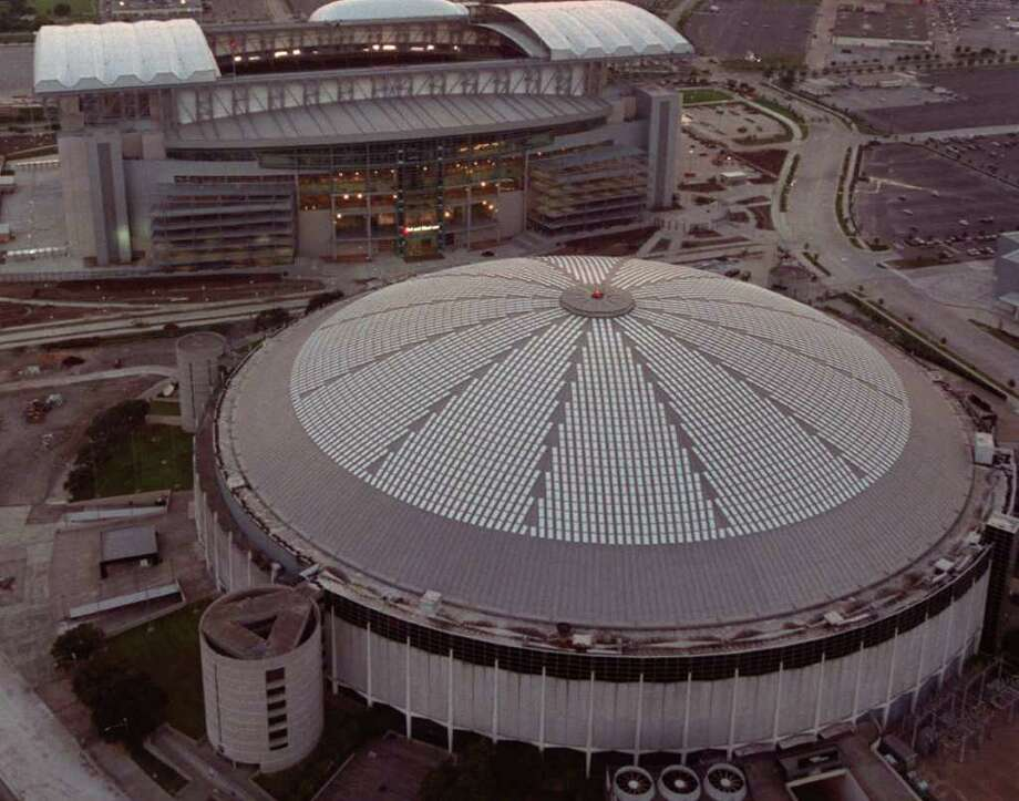 In this April 1965 file photo, the Houston Astrodome is seen through a fish-eye lens. The Houston Astros played their first game in the Astrodome on April 9, 1965. A $1.35 billion-dollar plan to turn the landmark Houston Astrodome into a convention and science center, but officials say at least two-thirds of the cost would have to be approved and picked up by taxpayers. Another option was unveiled Monday June 14, 2010, to raze the stadium.  AP Photos file photo / 2002 AP