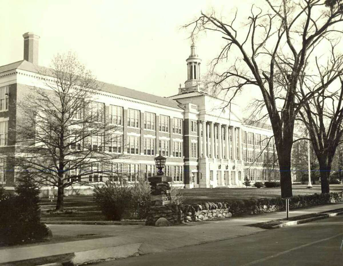 The former Greenwich High School, what is today Town Hall on Field Point Road, is shown in this undated photo. Truman Capote attended the school from 1939 to 1941. Photo courtesy of the Greenwich Historical Society.