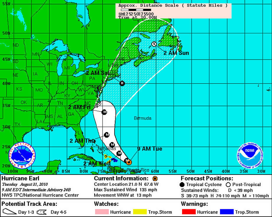 Hurricane Earl could hit anywhere between North Carolina and New England later this week. Graphic from the National Hurricane Center