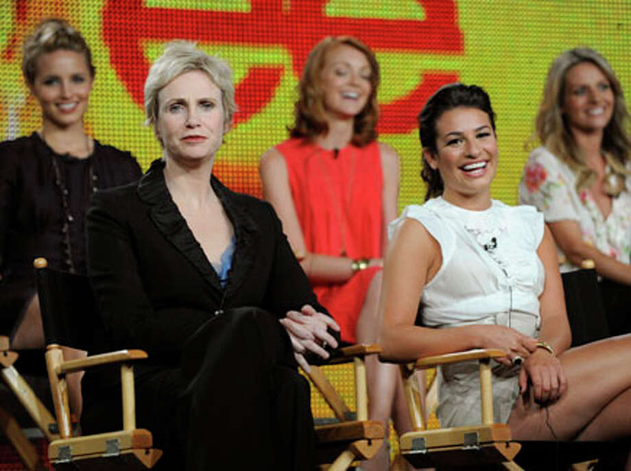 """In this photo taken Aug. 6, 2009, """"Glee"""" cast members from left, Diana Agron, Jane Lynch, Jayma Mays, Lea Michele and Jessalyn Gilsig participate in a panel discussion at the FOX Television Critics Association summer press tour in Pasadena, Calif. """"Glee"""" was nominated for 19 Emmys. AP Photo/Chris Pizzello / AP2009"""