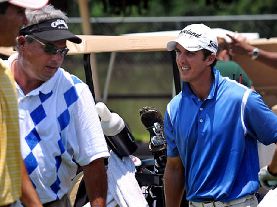 Anthony Broussard chats with Ken Ramsey during the Adams Pro Tour Series tournament this week at Beaumont Country Club. Guiseppe Barranco/The Enterprise / Beaumont
