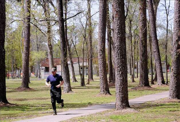 Wuthering Heights Park3650 Delaware St.1-mile walking trail(File photo) Joel Waldrop runs Tuesday through Wuthering Heights Park. Allergy season is here as pollen begins to fill the air and cause sinus problems for many.