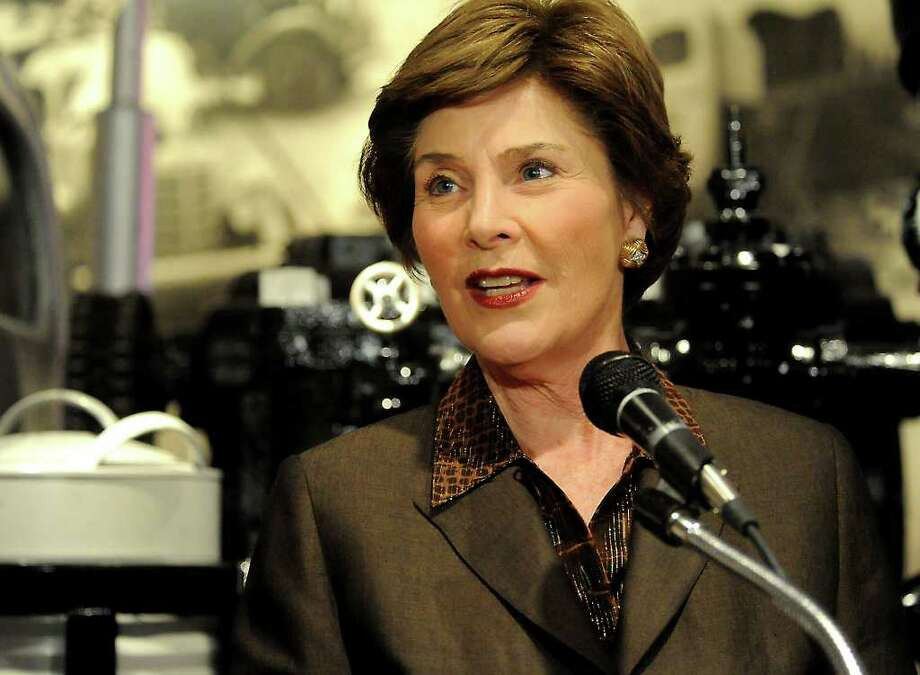 "Laura Bush speaks to the media Tuesday before the Spindletop ""Blowout 2010"" fundraiser at the Texas Energy Museum in Beaumont.  Tammy McKinley/The Enterprise / Beaumont"