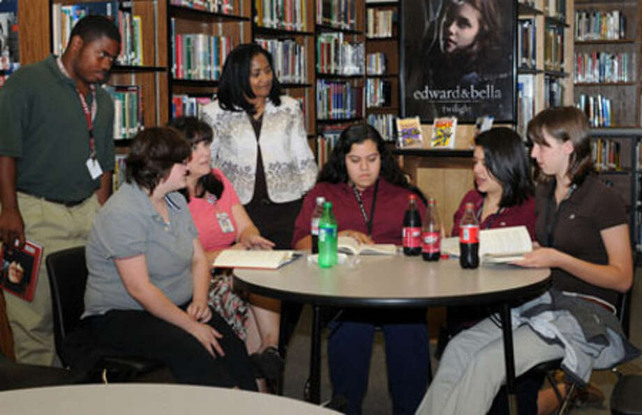 The Bulldog Book Club meets at the JHS library.