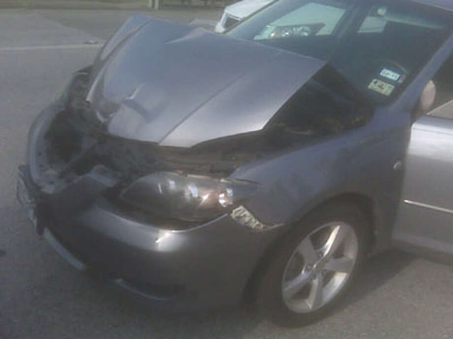 This car was part of a 3-vehicle pileup at College and Interstate 10 Wednesday morning. Teresa Mioli/The Enterprise