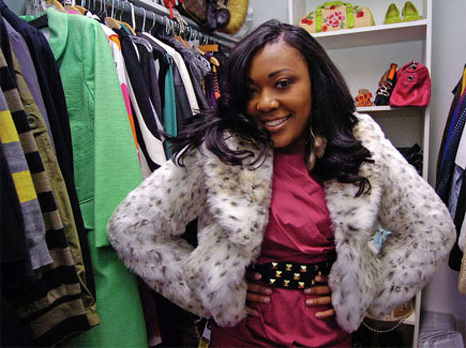 """Dee Ware wears a faux fur jacket, similar to what a """"Sex and the City""""  character would wear. """"It's environmentally and animal friendly,"""" she said. Dave Ryan/The Enterprise"""