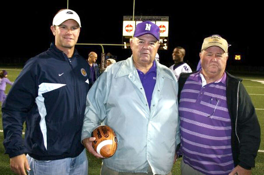 Kevin Barbay, left, a former Nederland Bulldogs' QB and Kelly Bulldogs assistant coach, will become the new head football coach at Warren High School. Barbay will be the third of his family to coach in District 10-2A next year, along with his uncle Curtis (Newton), middle, and cousin Darrell (Anahuac, not pictured). Photo Courtesy of Kevin Barbay.