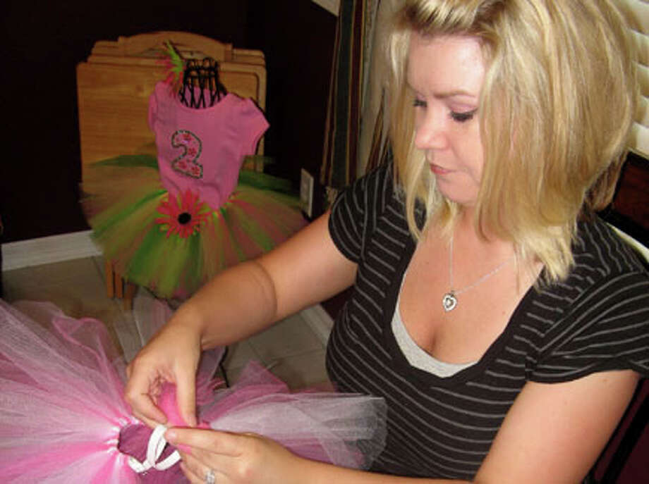 Amanda Jaetzold, 30, of Groves, started her at-home business, Fabulous Tutus, after making clothing for her 4-year-old daughter, Kenzie.