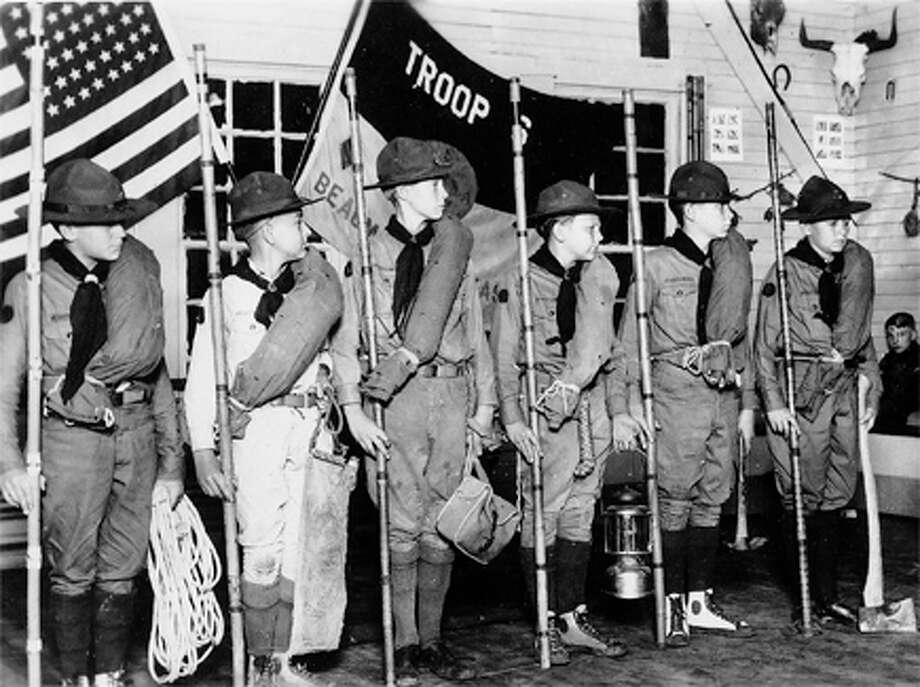 Beaumont Troop 6 Scouts, ca. 1933-34, stand for inspection. Photo courtesy Glenn Cummings.