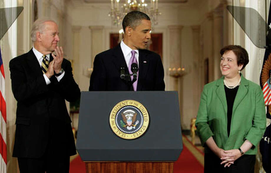 President Barack Obama introduces Solicitor General Elena Kagan as his choice for Supreme Court Justice in the East Room of the White House in Washington as Vice President Joe Biden applaudes. AP Photo/J. Scott Applewhite / AP