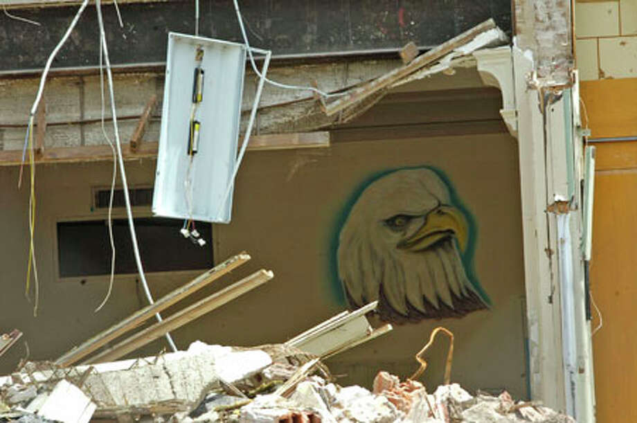 A painting of an eagle, the mascot of South Park after it became a middle school, can still be seen on the wall of an upper floor of the partially demolished school. Dave Ryan/The Enterprise / Beaumont