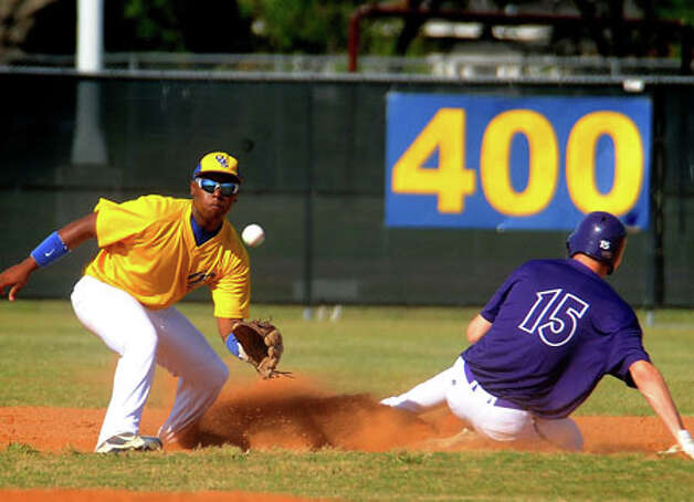 PN-G's Spencer DeRon slides safely into second against Ozen at the Panthers' stadium Monday. Guiseppe Barranco/The Enterprise / Beaumont