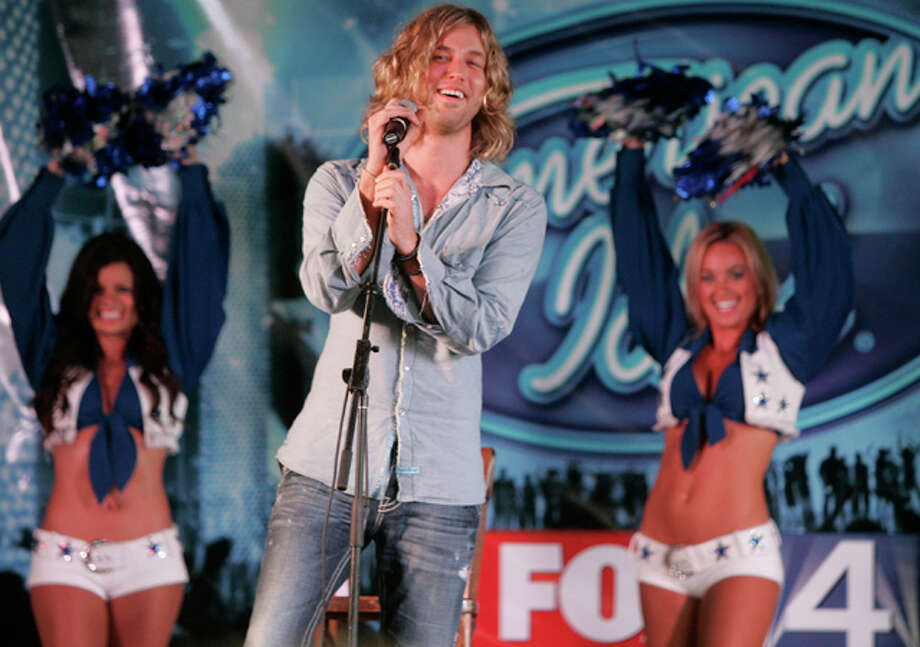 American Idol finalist Casey James at a free concert with the Dallas Cowboy Cheerleaders in Fort Worth on May 14. / FR103746 AP