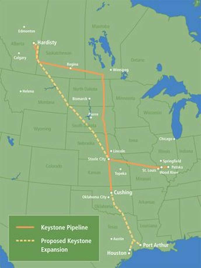 A map of the proposed Keystone Pipeline Extension. Courtesy of transcanada.com / Beaumont