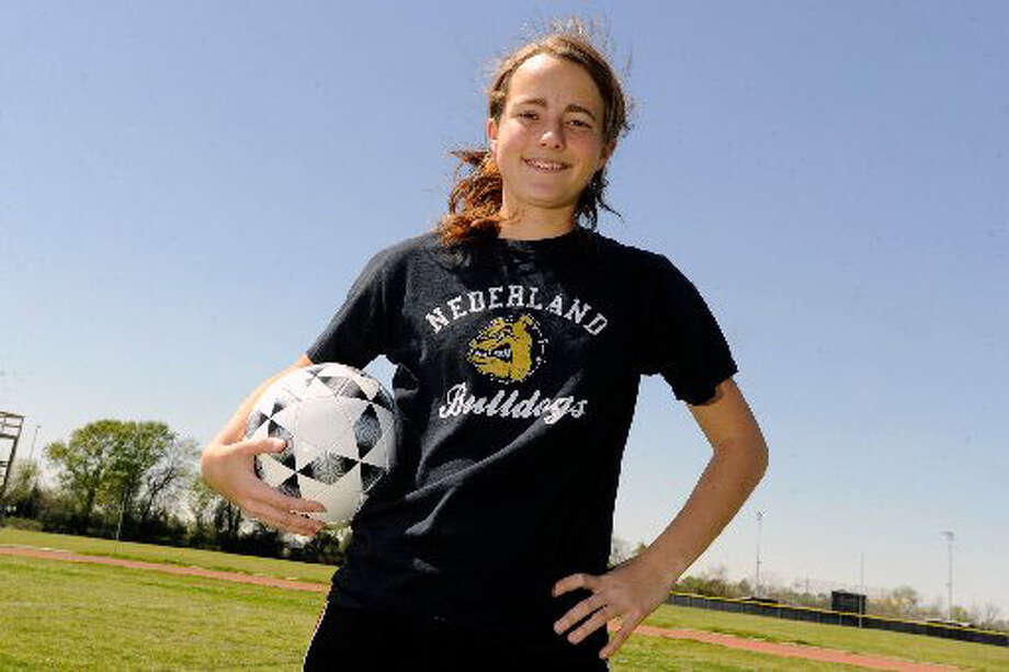 Nederland midfield defender Lauren Washburn and her teammates will face Lumberton on Friday for the second year in a row to advance in playoff action. Washburn missed the matchup last year after having knee surgery. The Nederland and Lumberton girls soccer teams won second round playoff games on Tuesday. Valentino Mauricio/The Enterprise