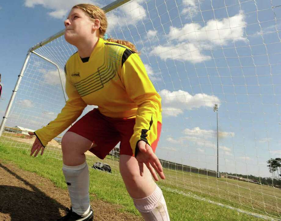 Makenzie Watts runs penalty kick drills Wednesday at Lumberton High School.  Tammy McKinley/The Enterprise / Beaumont