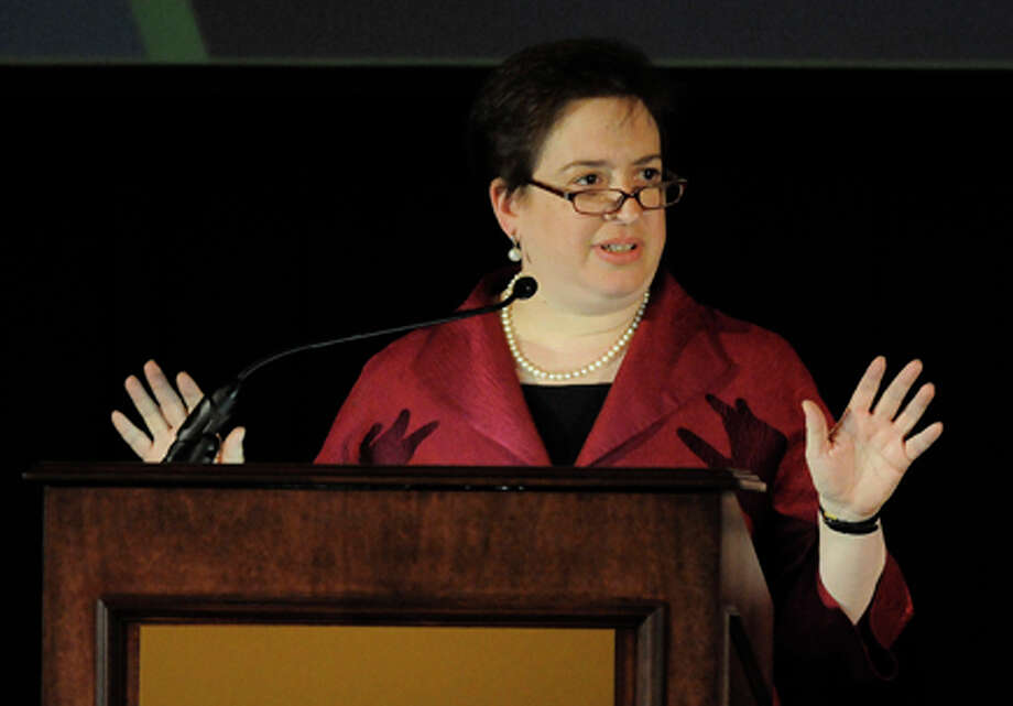 Solicitor General Elena Kagan speaks during the annual meeting of the 7th Circuit Bar Association & Judicial Conference of the 7th Circuit on May 3 in Chicago. Kagan is under consideration to replace retiring U.S. Supreme Court Justice John Paul Stevens. AP Photo/David Banks / FR165605 AP