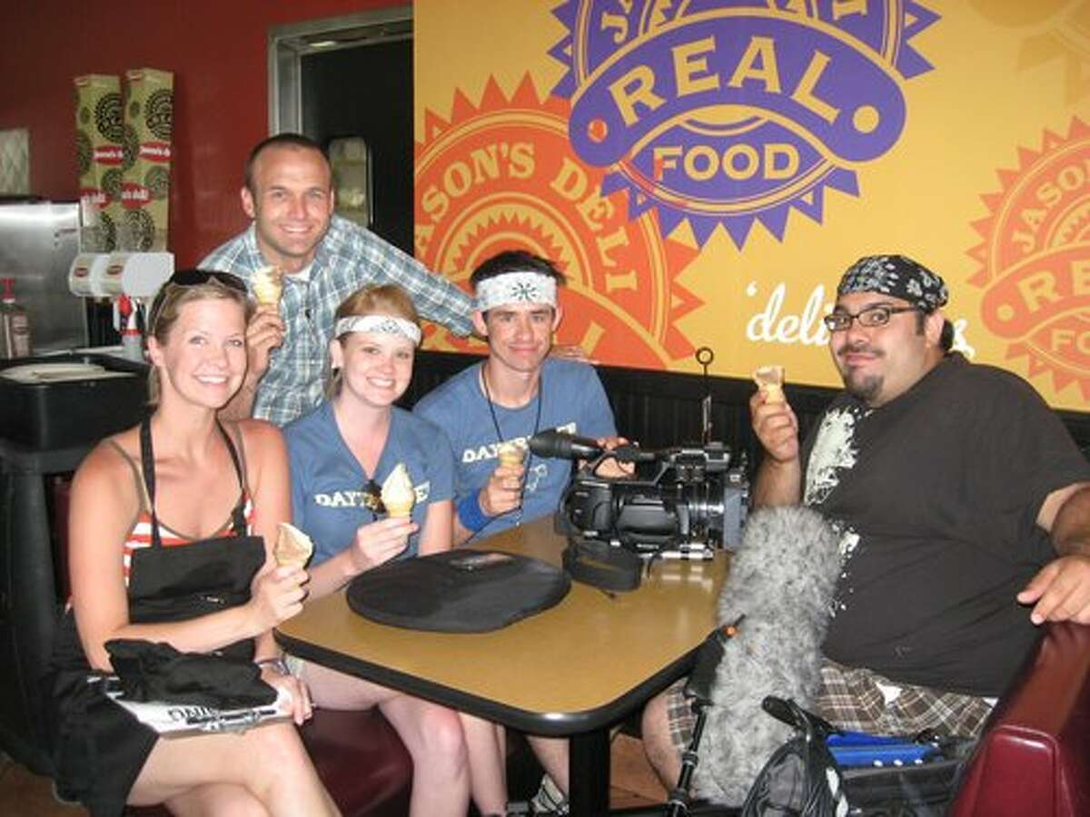 The Daytripper production crew finishes off their filming at Jason's Deli on Dowlen Road with the deli's complimentary ice cream cones. Teresa Mioli/The Enterprise