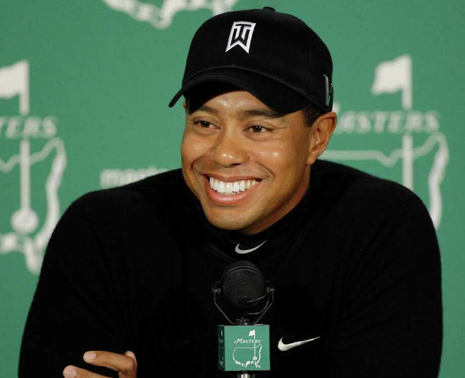 This April 7, 2009, photo shows Tiger Woods speaking to the media at a news conference at the Masters golf tournament at the Augusta National Golf Club in Augusta, Ga. AP file photo / AP2009