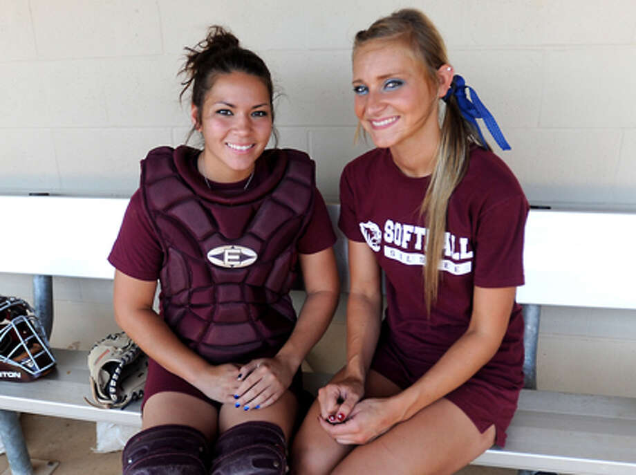 Catcher Denee Crawford and pitcher Danielle Treadway pose for a portrait at Silsbee High School. Silsbee's softball team is in the third round of the playoffs. Tammy McKinley/The Enterprise / Beaumont