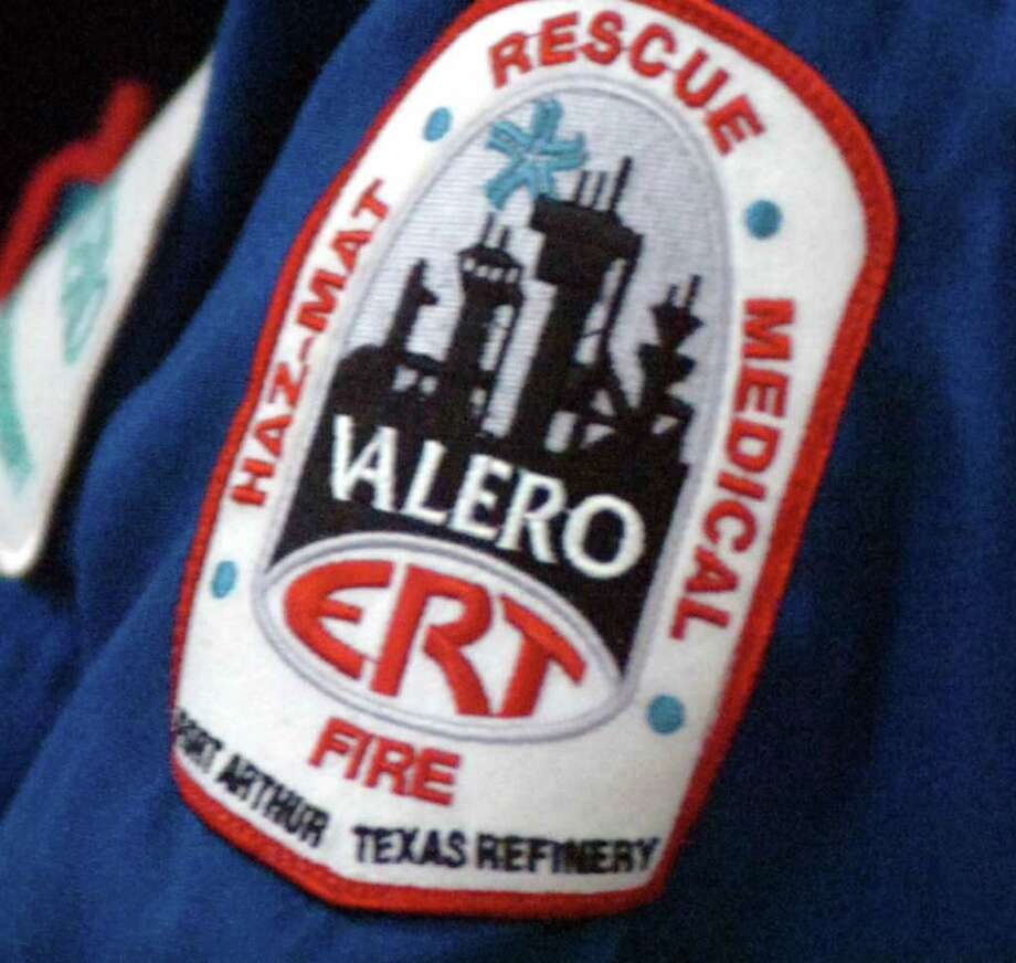 A union member's patch shows where he works at the Valero refinery in Port Arthur. Pete Churton/The Enterprise / Beaumont
