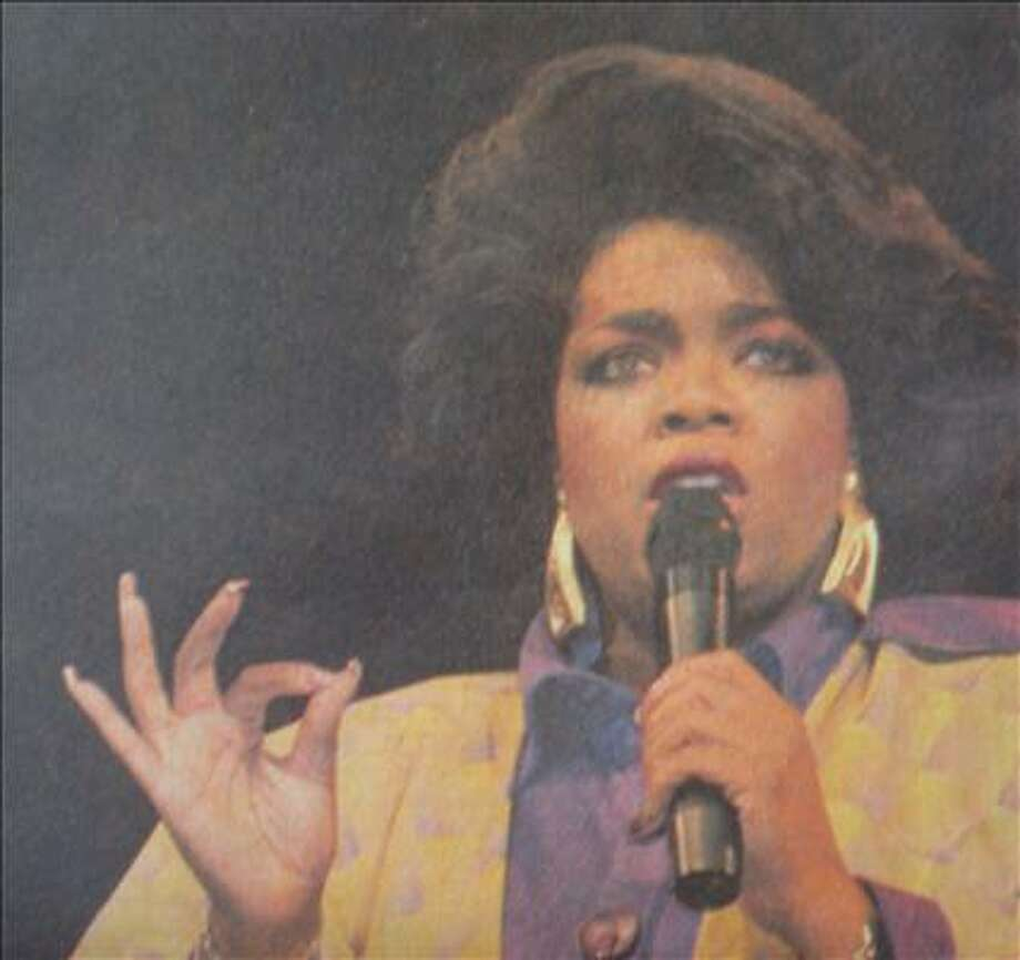 Oprah Winfrey speaks at the Montagne Centerin Beaumont on August 18, 1987. Enterprise file p