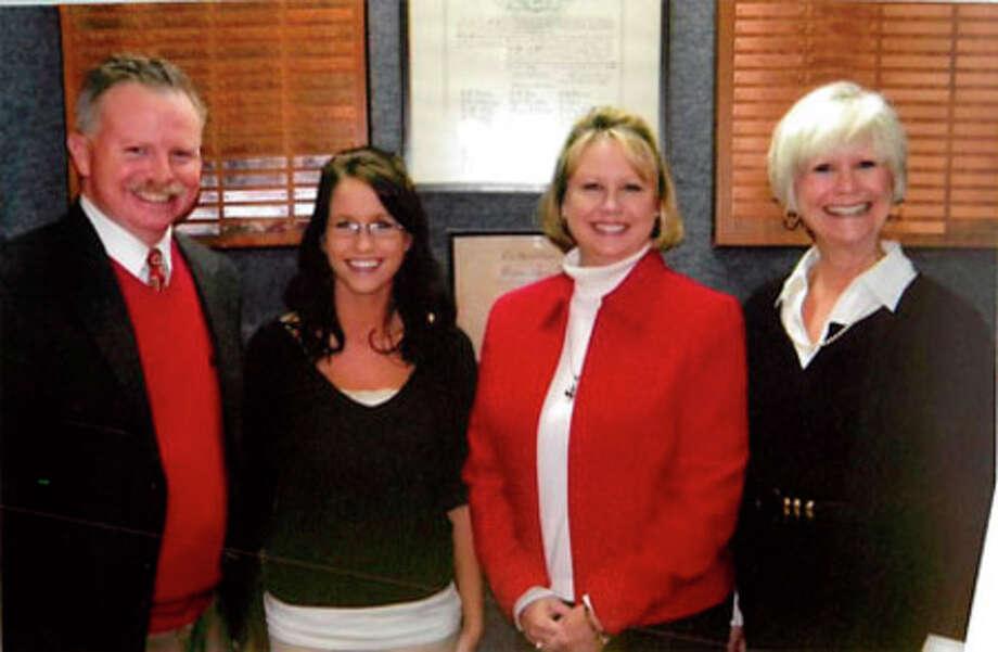 Noon Lions Club President Ben Hancock, Noons Lions Club Sweetheart Caroline Kipp, Karen Walker Kipp, and Bonnie Few Walker.