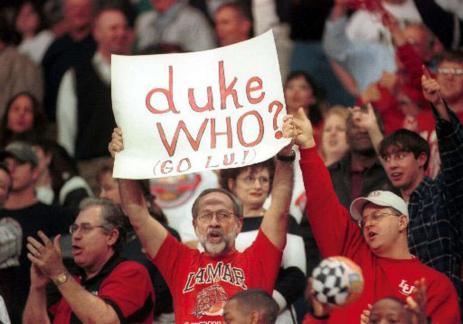 Lamar University Cardinal fans support the Cardinals in their first round matchup against the Duke Blue Devils in March 2000. Enterprise file photo