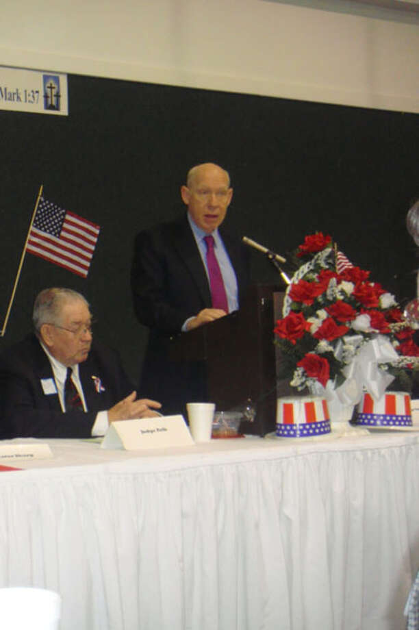 Former Houston Mayor Bill White speaks at the annual men's breakfast at Mt. Olive Baptist Church Sunday, Jan. 17.