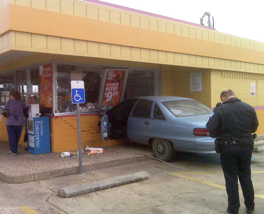 Earlier today, a driver lost control and hit the side of Church's Chicken on Calder near 14th. Photo/Beaumont PD