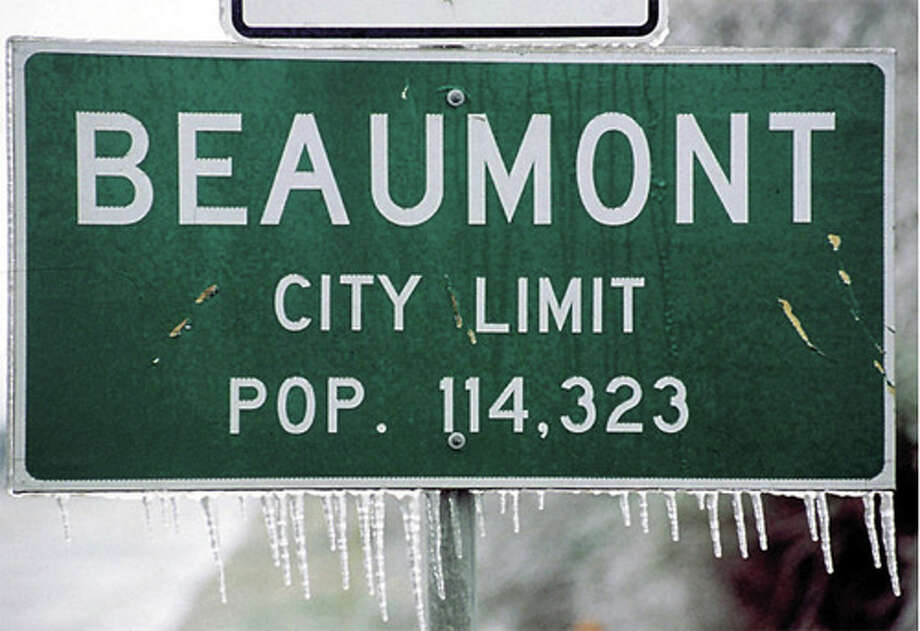 This photo of the Beaumont city limit sign was taken during the 1997 ice storm. Enterprise file photo.
