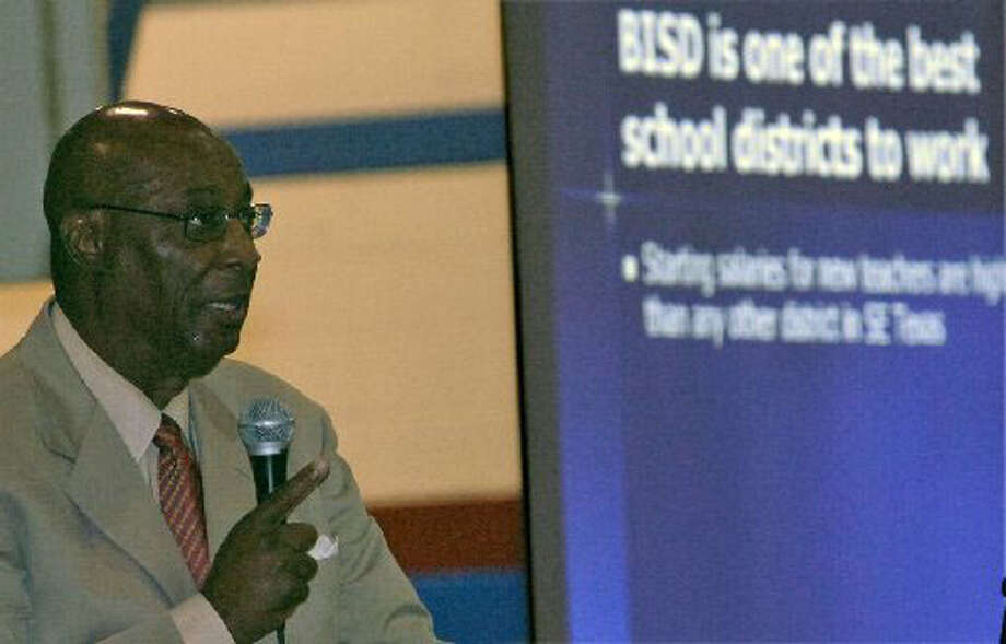 BISD Superintendent Carrol Thomas speaks to a packed gymnasium of school district employees at the 2009-2010 BISD Districtwide Convocation in August. Enterprise file photo