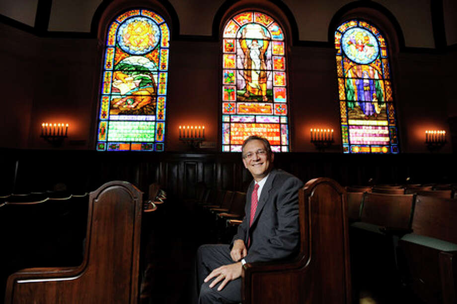Rabbi Joshua Taub, pictured in the Sanctuary, is the new rabbi at Temple Emmanuel in Beaumont.   Valentino Mauricio/The Enterprise