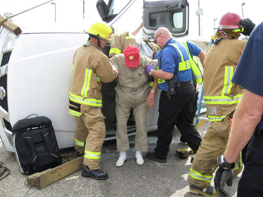 A 95-year-old Beaumont man walked away uninjured after his truck collided with a minivan at the intersection of Dowlen Road and Delaware Street Thursday morning. Photo by Beth Rankin/The Enterprise