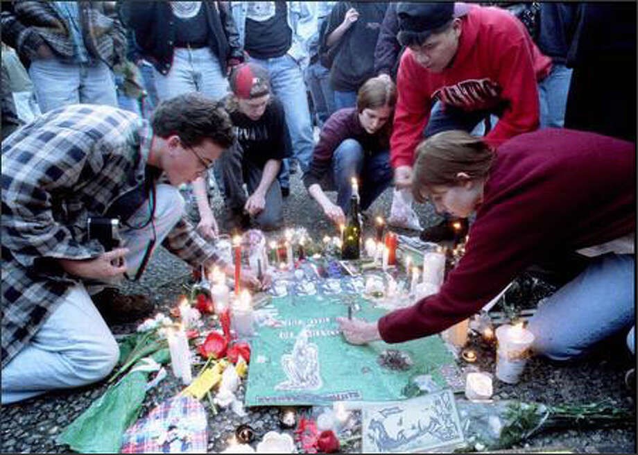 Thousands of fans gathered at Seattle Center to mourn the death of Nirvana singer Kurt Cobain.  Grant M. Haller / P-I