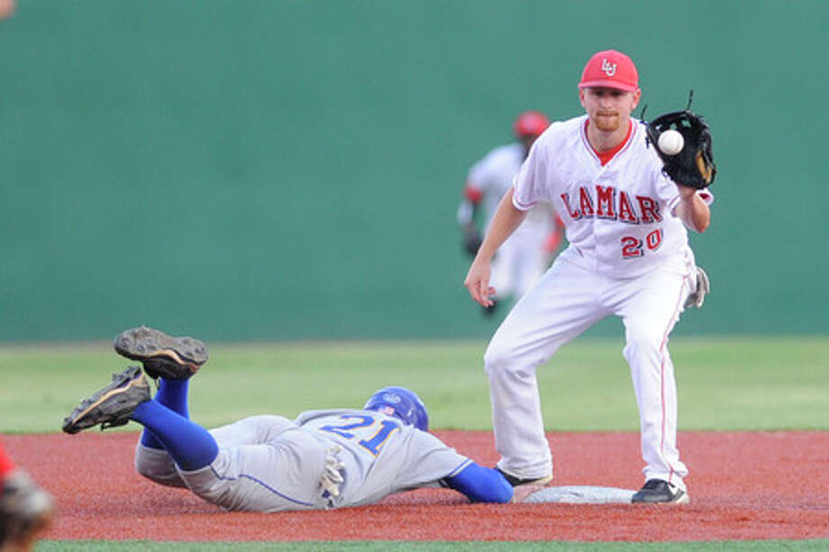 Lamar second baseman Brian Taylor takes a throw from pitcher Eric Harrington that keeps McNeese State's runner, Lee Orr,  on the bag.   Valentino Mauricio/The Enterprise