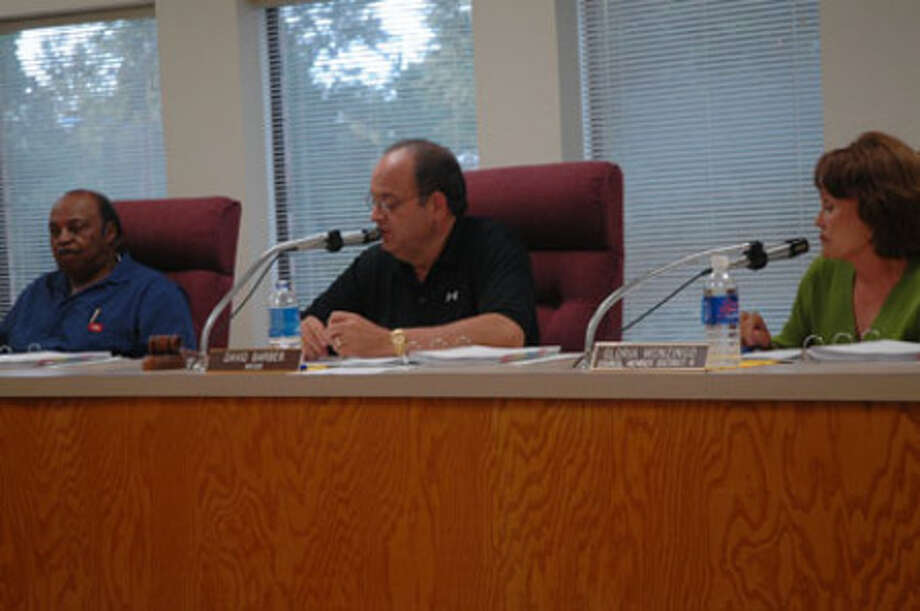 Jasper Mayor David Barber presides over council just prior to Hurricane Ike' arrival in Jasper last year.