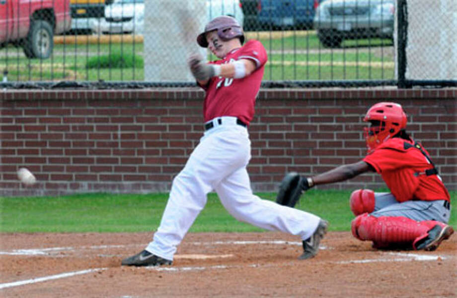 Jacob Soisson strokes a single to drive in vital runs during Jasper?s 5-2 win over Diboll last week.