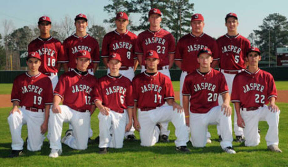 The Jasper Bulldog varsity baseball team consists of bottom row (l-r): Lance Nerio, Clayton Hart, Jacob Soisson, Cory Melton, Ty Parker, Tyler Bolton. Top row, left to right,  Marx Marcantel, Sam Alvis, Mason Koch, Parker Phillips, Derek Sowell, Tyler Ernest. Not pictured are Colton Burleson, Ryan Bronson