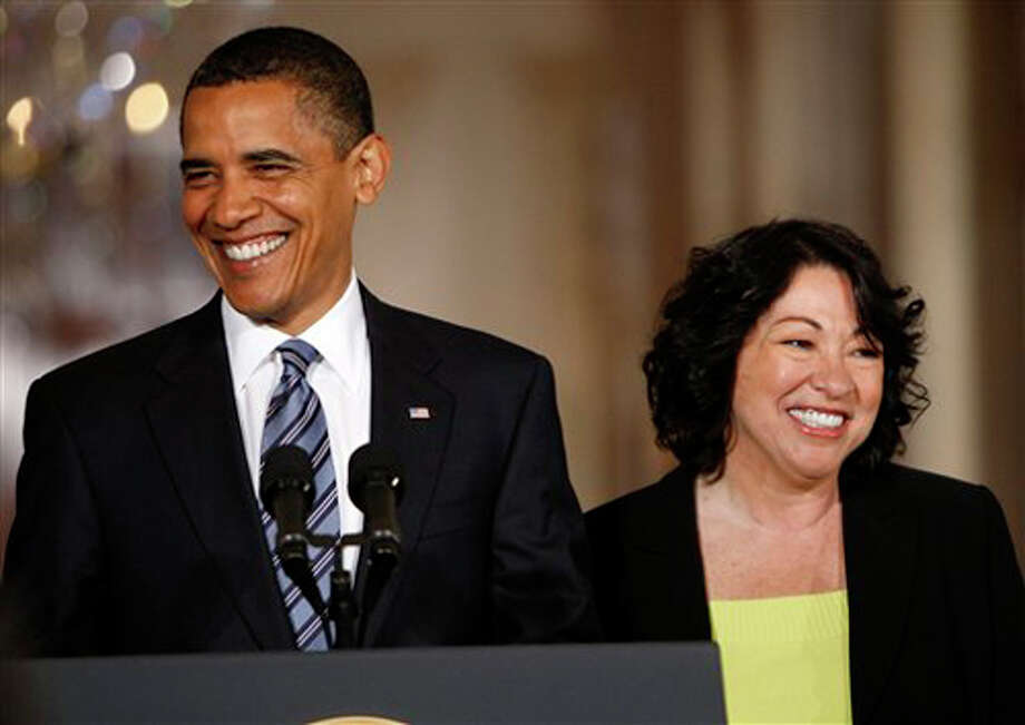 President Barack Obama announces federal appeals court judge Sonia Sotomayor, right, as his nominee for the Supreme Court on Tuesday at the White House in Washington. (AP Photo/Pablo Martinez Monsivais ) / AP