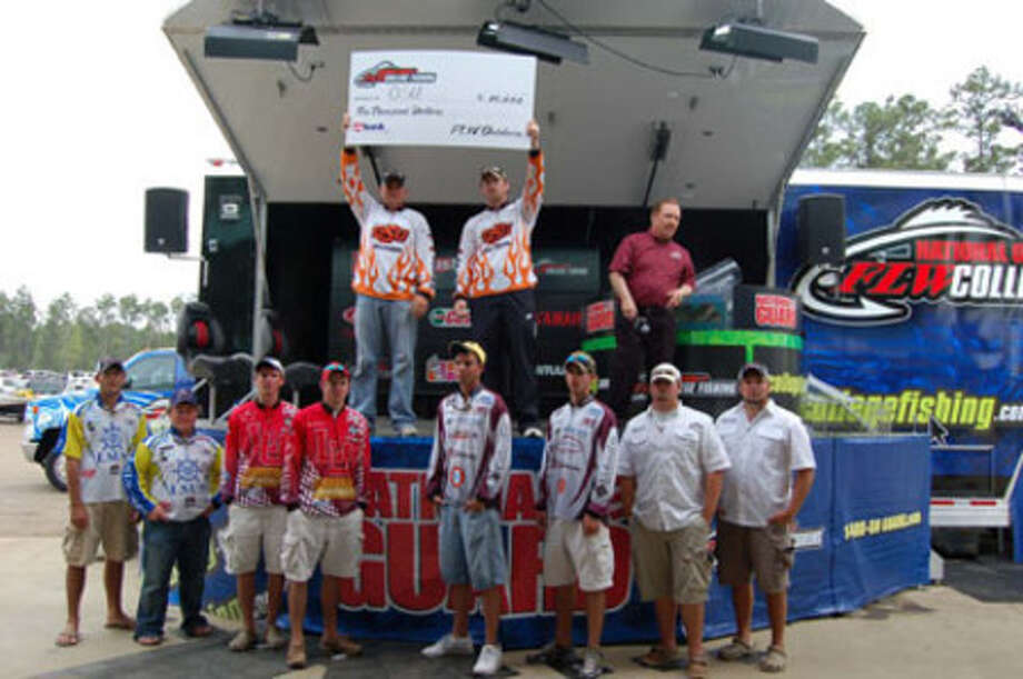 William Powell & Jeremy Bersche of Oklahoma State University won 1st place with a 6 fish, 18-9 lb limit.  (L-R bottom row) 2nd - Zach Caudle & Joe Landry of LSU Shreveport; 3rd - Matt Morrison & Danny Iles of Lamar University; 4th - Tyler James & Weston Brown of Texas A & M; 5th - Josh Seale & Austin Adcock of Angelo State
