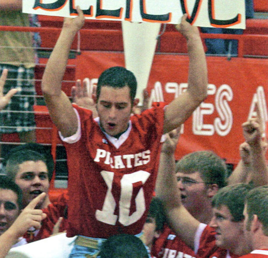 Deweyville High School quarterback Destin Lairsey, top, who was killed Saturday, Feb. 28, in a car wreck, rides the shoulders of a teammate during a 2008 pep rally at Deweyville High School. Photo/Deweyville High School