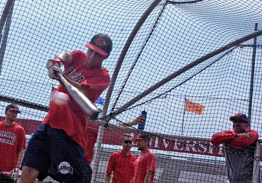 Lamar University baseball player Quentin Luquette takes batting practice Wednesday afternoon as the Cardinals prepare to wrap up the regular season with a series against Stephen F. Austin. Dave Ryan/The Enterprise