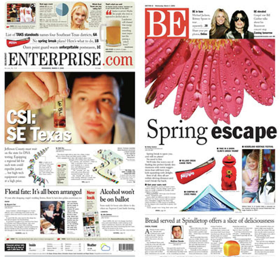 The new look of The Beaumont Enterprise on March 4, 2009.