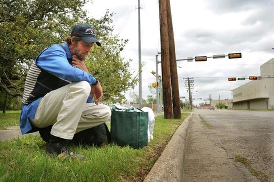 A newcomer to Beaumont's homeless community, Paul Hansen, 46, said a law enforcement officer in Winnie recently gave him the option of jail time or be taken to and dropped off at Beaumont's city limits. March 30, 2009. Guiseppe Barranco/The Enterprise