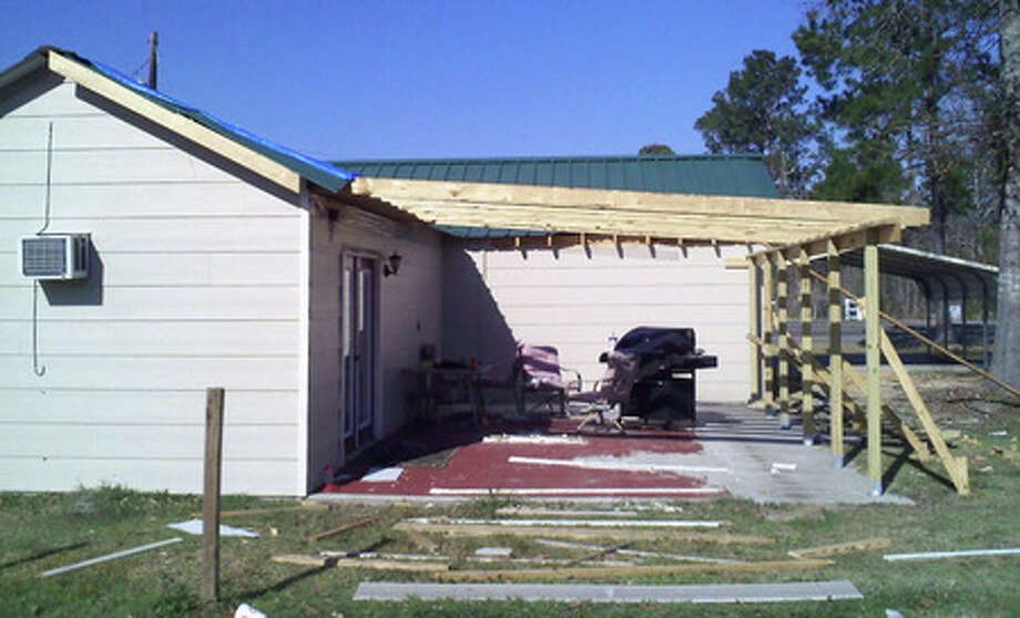 Hurricane Ike ripped the roof off the home of Richard Pelt of Mauriceville. Pelt said he hired Don Rossell Construction, but the home was never finished. Courtesy photo